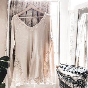 FREE PEOPLE • oversized lace swing tunic top